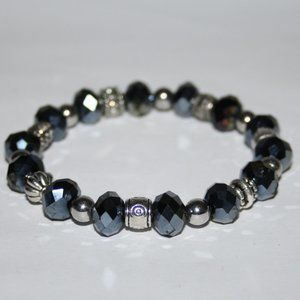Silver and dark gray bracelet 7""